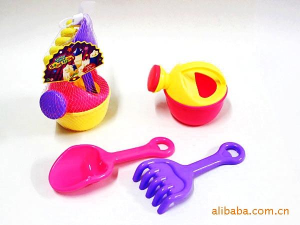 供应益智早教儿童夏季沙滩车3件套装钉耙子铲子 儿童过家家
