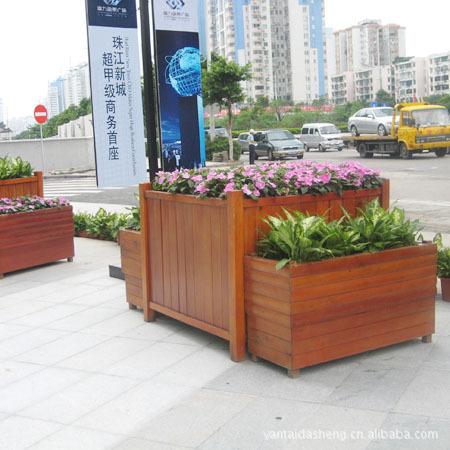 花盆容器 山东 大型 木质 花箱 厂家 花盆容器尽在