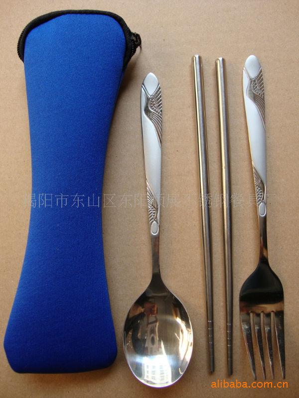 不锈钢套装餐具套勺子叉子筷子,不锈钢餐具批发采购 刀叉