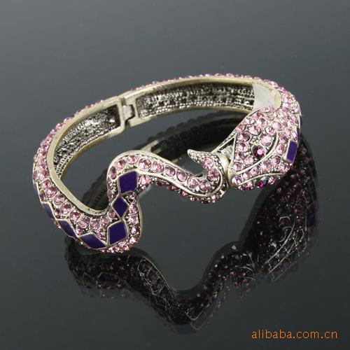 新款动物手镯 满钻手镯 蛇形手环 合金手圈 蛇形