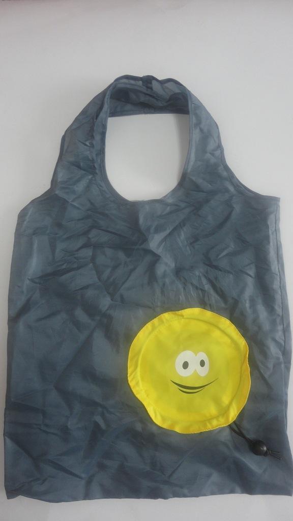 灰色笑脸小男孩型卡通式收纳折叠环保购物袋图