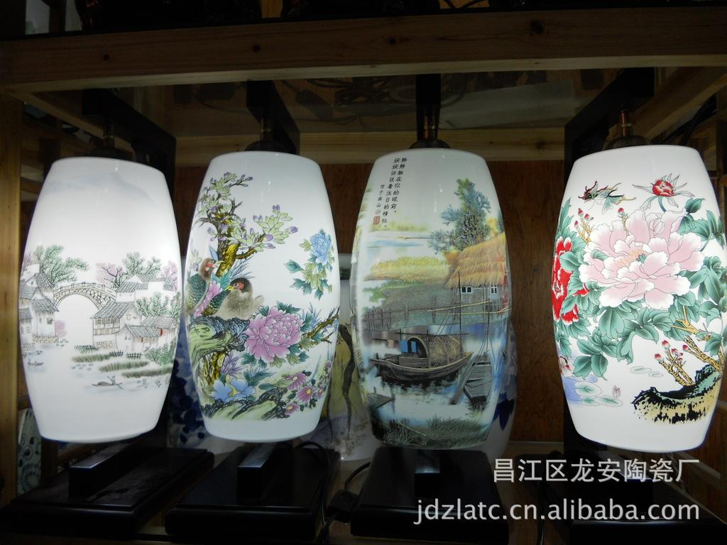供应景德镇陶瓷工艺品礼品高档手绘青花瓷彩瓷陶瓷台灯