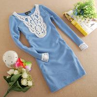 Женское платье clothing 2013 autumn and winter sweet lace collar slim long-sleeve dress basic dress blue