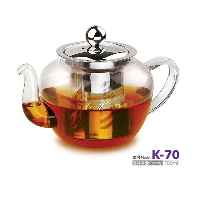 金尚品 不锈钢内胆玻璃茶壶 花茶壶 红茶泡 绿茶泡 耐热玻璃杯
