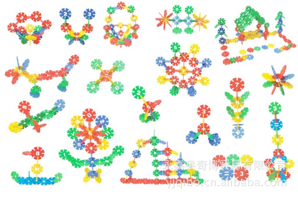 拆装积木 塑料材质 数字雪花片-雪花片拼搭图解 雪花片拼图摩天轮