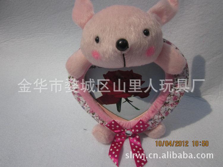 长期供应可爱熊桃心相框 毛绒公仔玩具相框 韩版卡通小熊毛绒相框 -图片