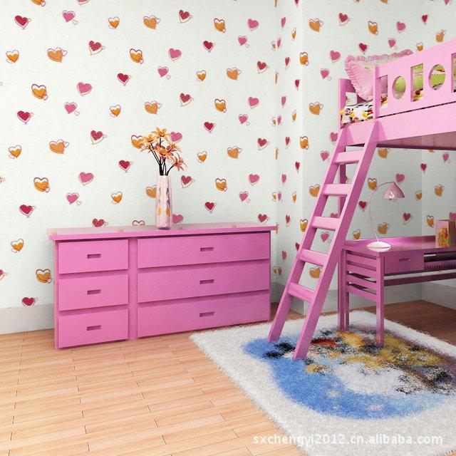 批发/纯纸儿童房间墙纸/可爱立体心形壁纸/透气环保房间墙