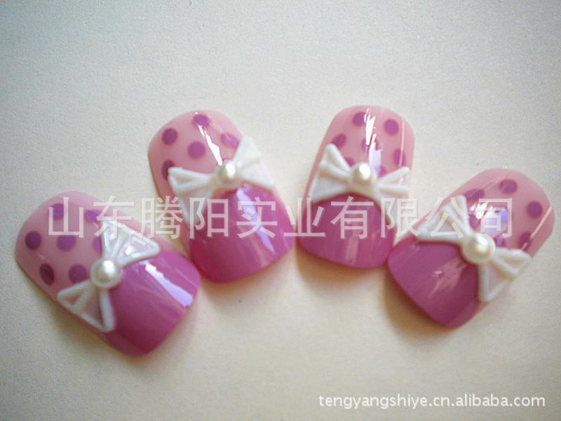 简约大蝴蝶结淑女长款3D假指甲贴片