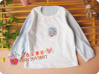 Футболка для девочки Children t-shirt spring and autumn baby long-sleeve T-shirt velvet color block decoration applique embroidery top basic shirt g