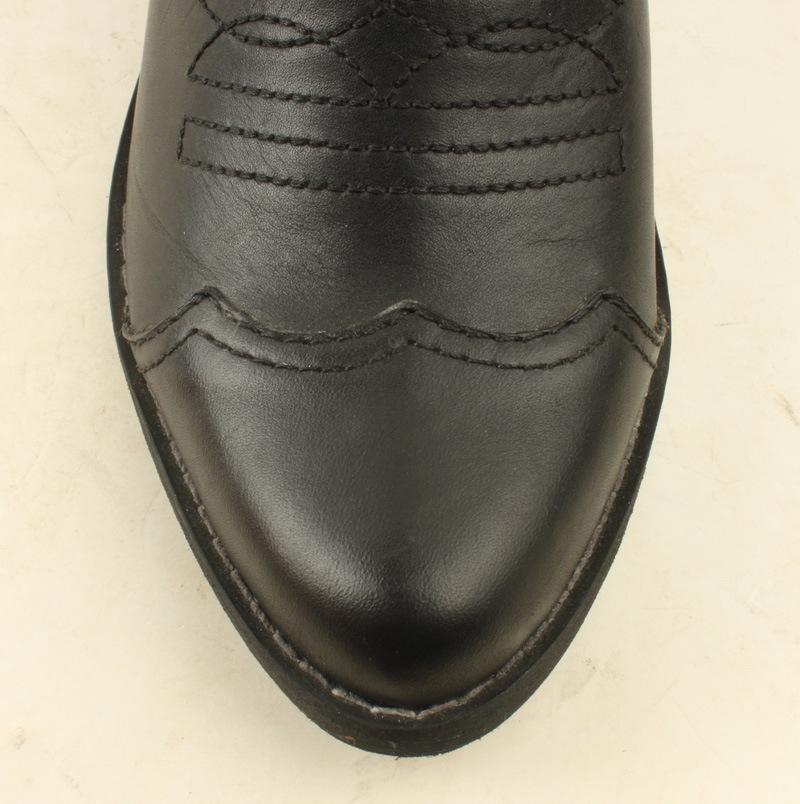 复古刺绣雕花梨花靴 粗跟侧拉链拼色骑士靴短靴女靴
