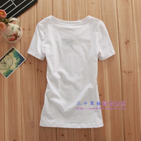 2012 asos fashion cat brief slim women's o-neck short-sleeve cotton t-shirt spring and summer 8167