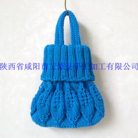 纯手工毛线编织包手织小包包手工小提包女包手拿小款八个树叶包图