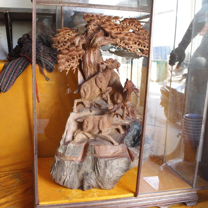 老挝花梨三阳开泰工艺品根雕家居摆件 三羊开泰迎客松商务礼品 -价