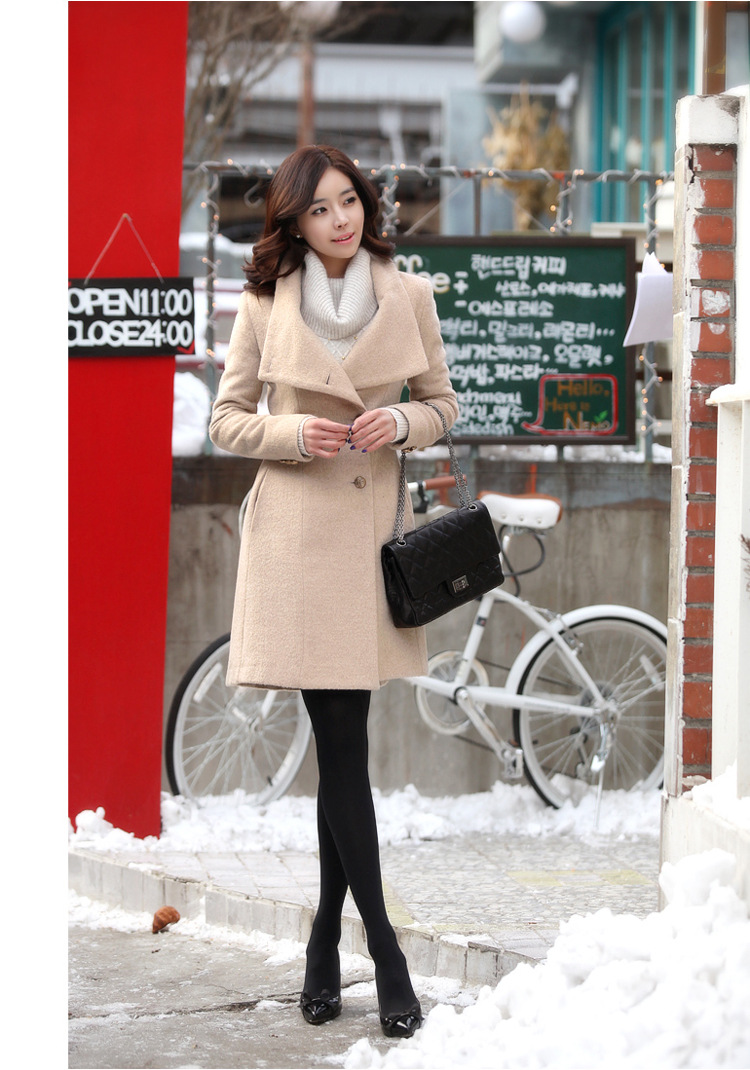 Elegant Fashion Slim Long Sleeves Single-breasted Lapel Woolen Overcoat