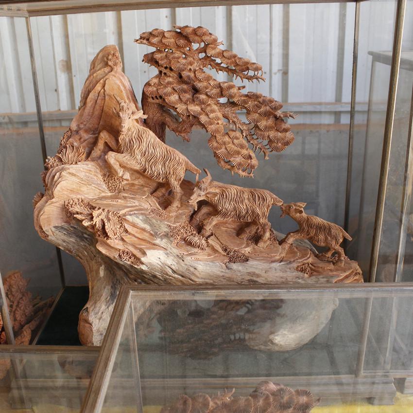 老挝花梨 三阳开泰 工艺品 根雕 家居摆件 三羊