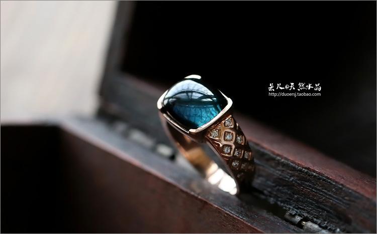 朵儿出品 天然水晶蓝碧玺戒指 纯蓝色 含有证书