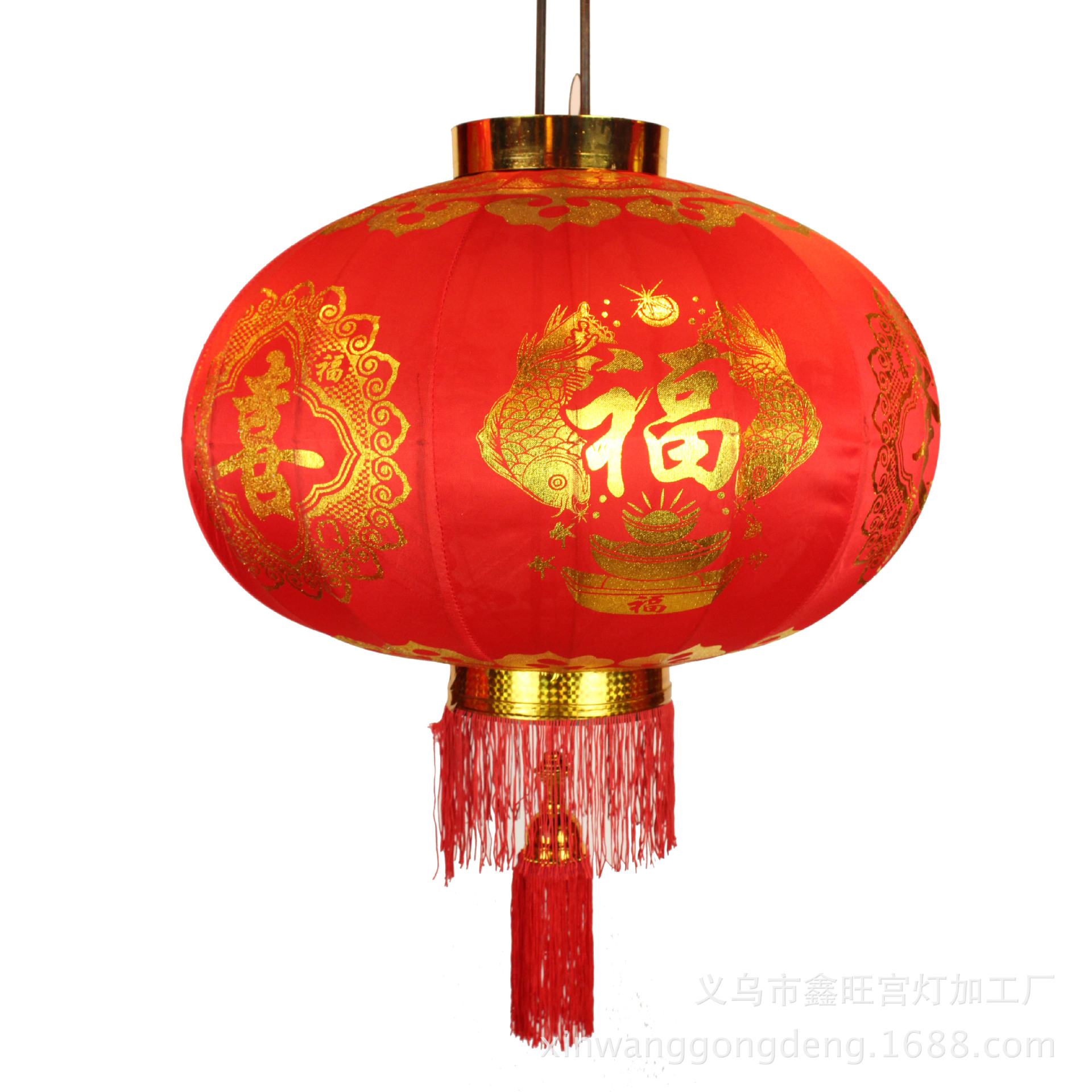 Supply Red Lantern stretch fabric stamping new year ...