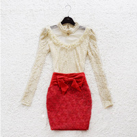 Женская юбка 2013 autumn Korean temperament ladies wind bow waist folds Slim skirts embroidered gauze skirt women's wear A265