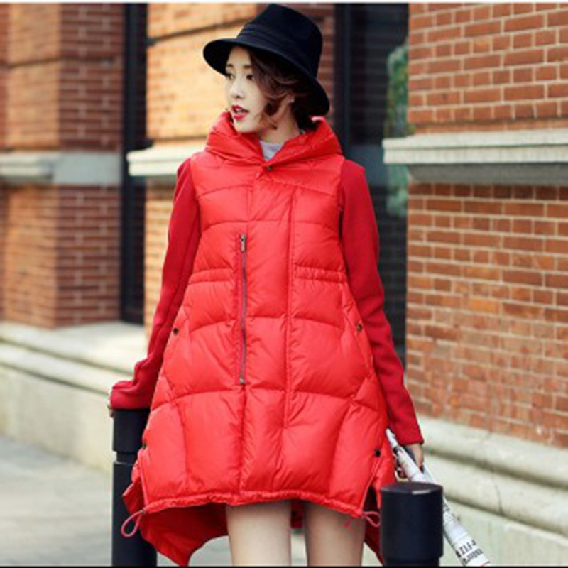 欧美A版中长款女装羽绒服外套不规则下摆针织