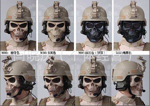 M02骷髅面具骑行骷髅头面罩全脸防护恐怖面罩 CS面罩