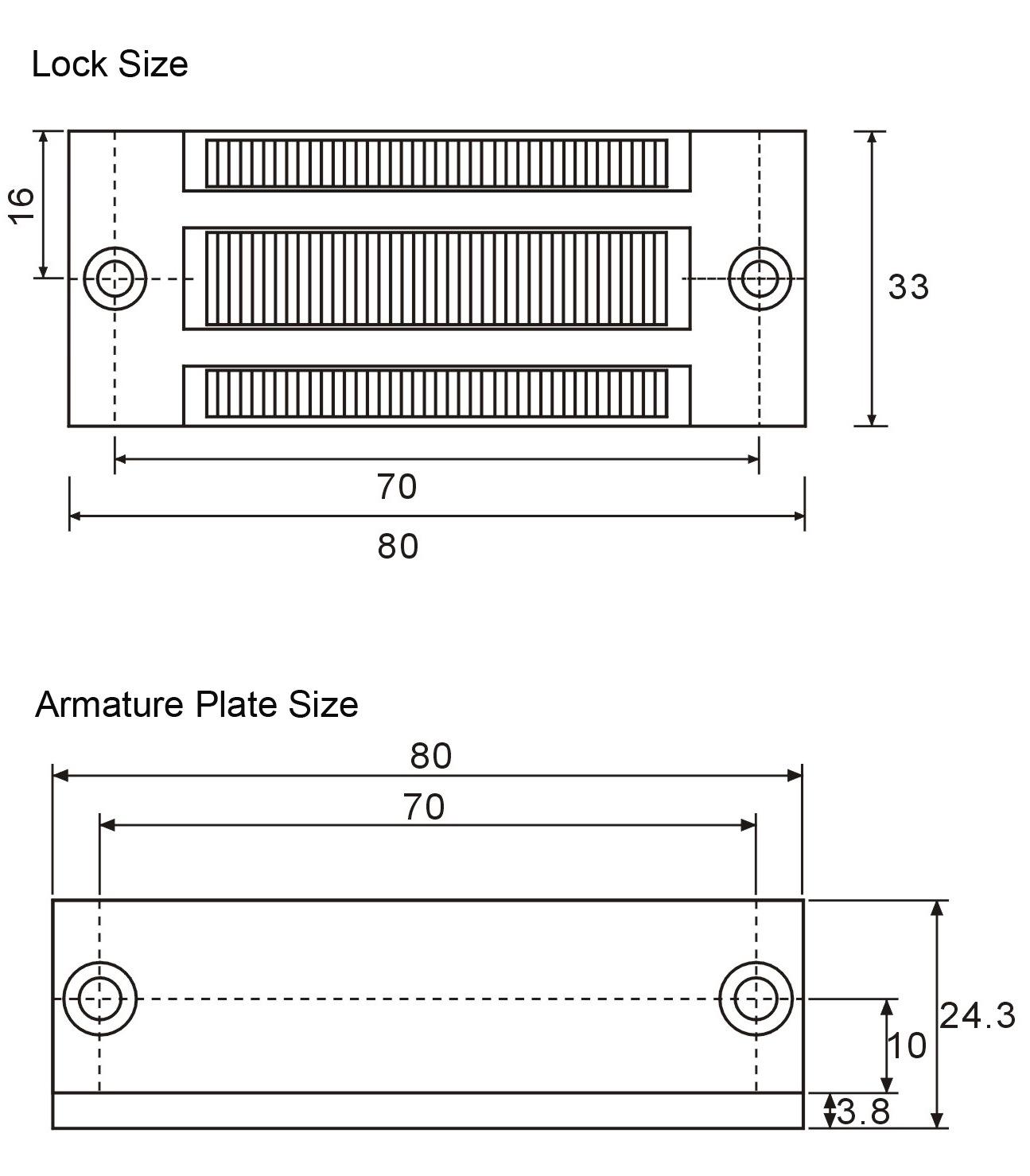 磁力锁GS60产品尺寸图