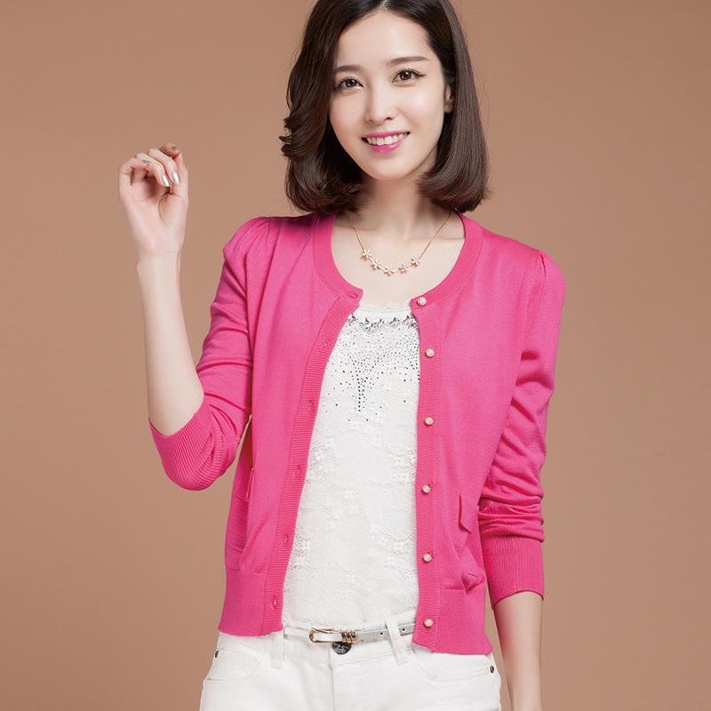 2014秋季新款韩版修身纯色针织衫时尚长袖V领糖果色开衫外套批发