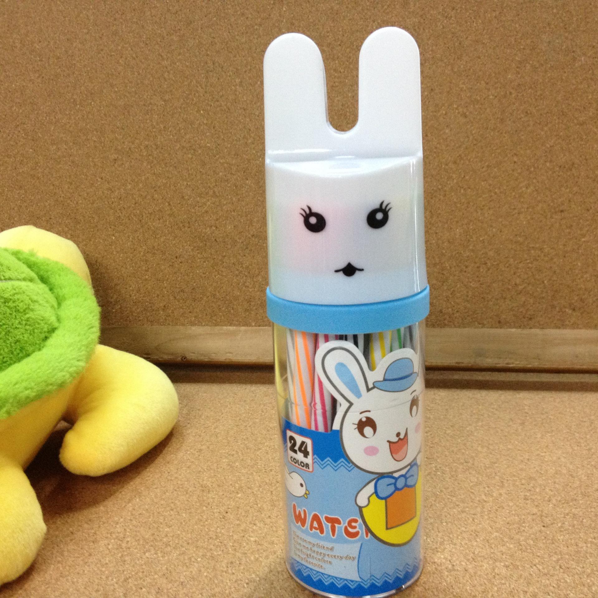 画笔 清华 兔子头 卡通 筒装水彩笔儿童画笔701A