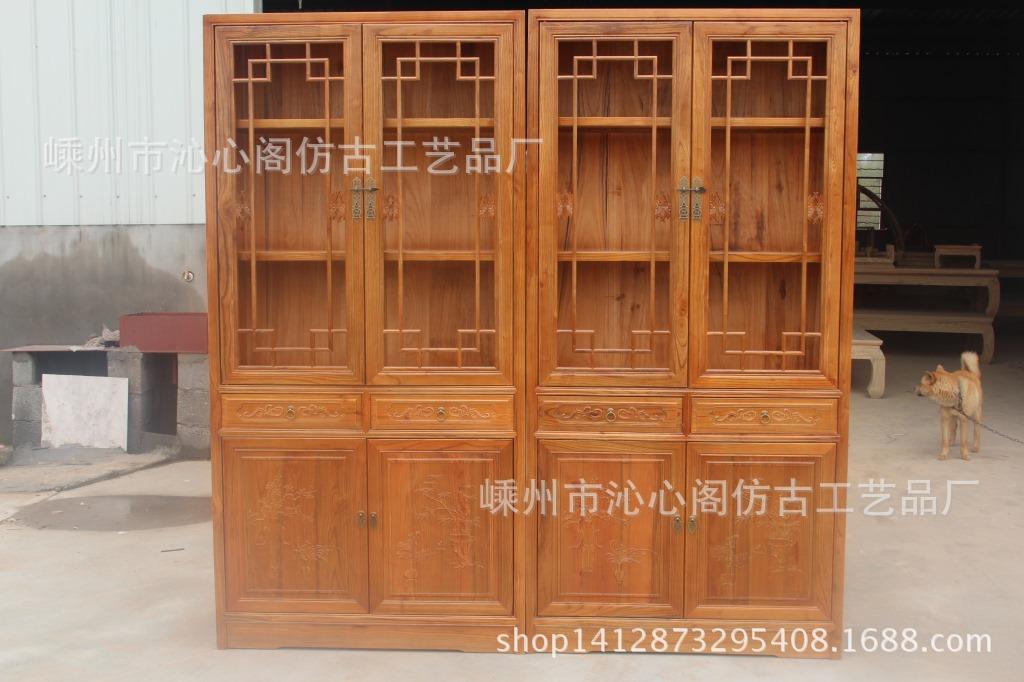 仿古实木家具书柜自由组合中式榆木玻璃书架书橱组合