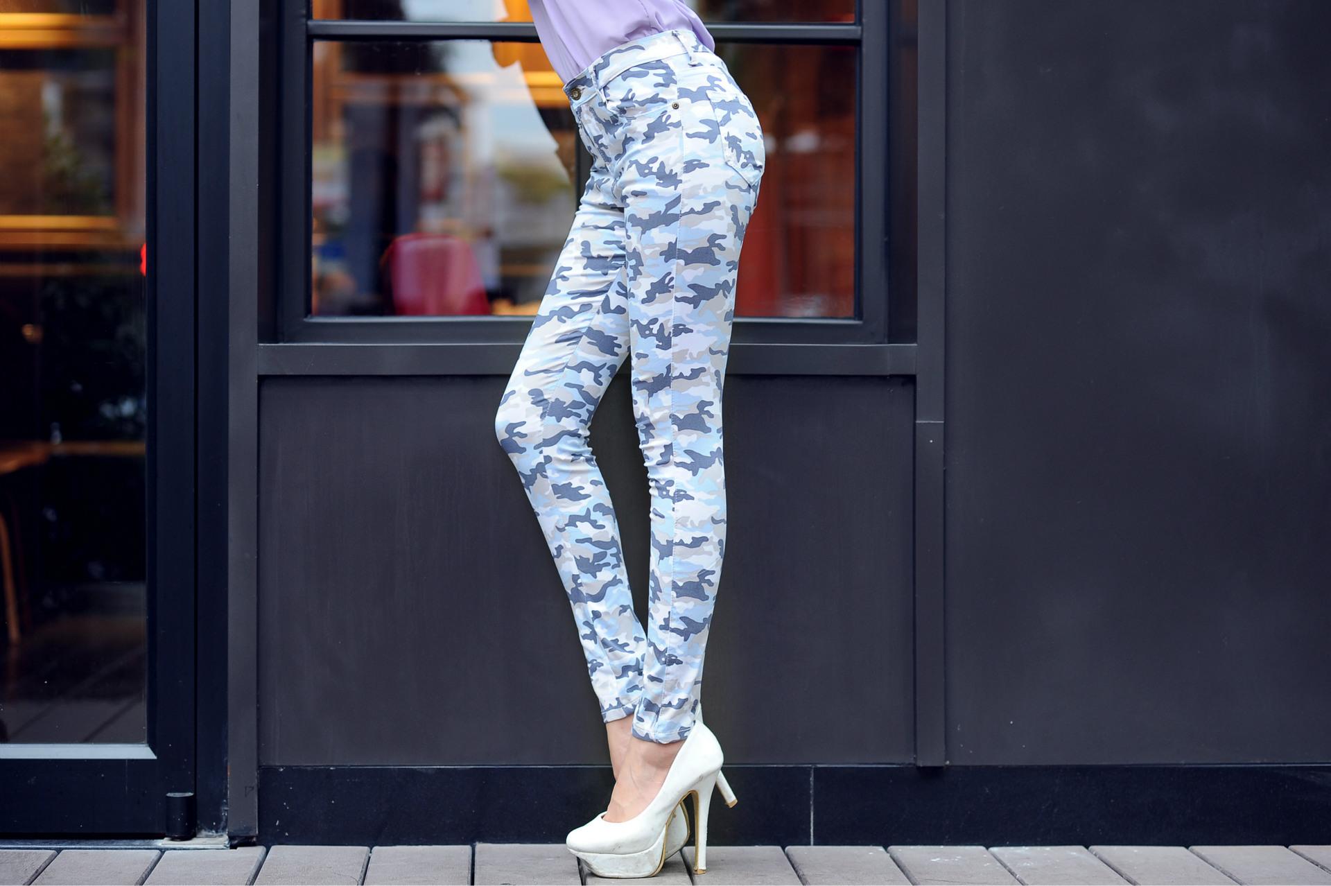 修身显瘦铅笔裤迷彩印花女式牛仔裤 -价格,厂家,图片,女式牛仔