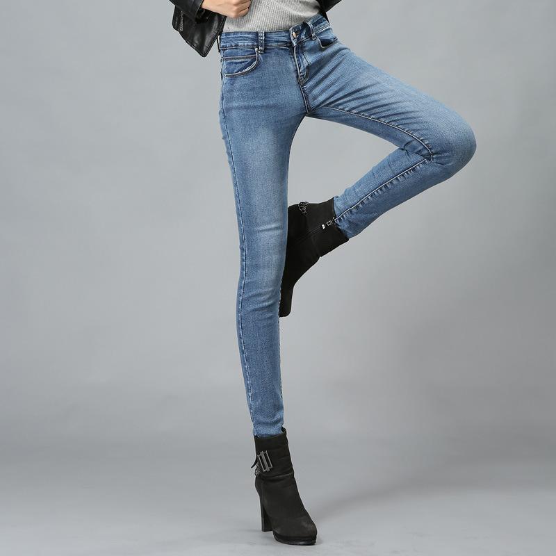 欧美风秋装新款显瘦女式牛仔裤时尚经典小脚裤弹力修身大码裤批发