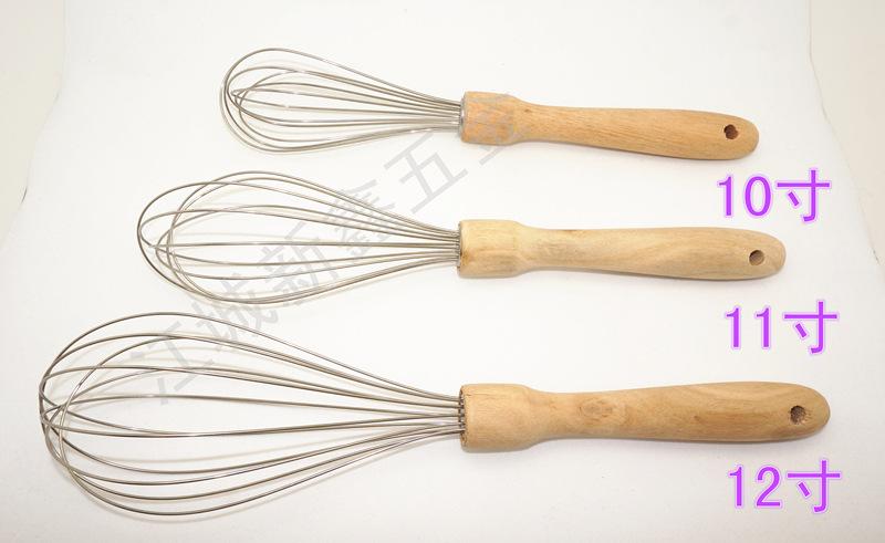 新鑫XXGF12 木质手柄 不锈钢打蛋器 烘焙工具 手动搅拌器 12寸