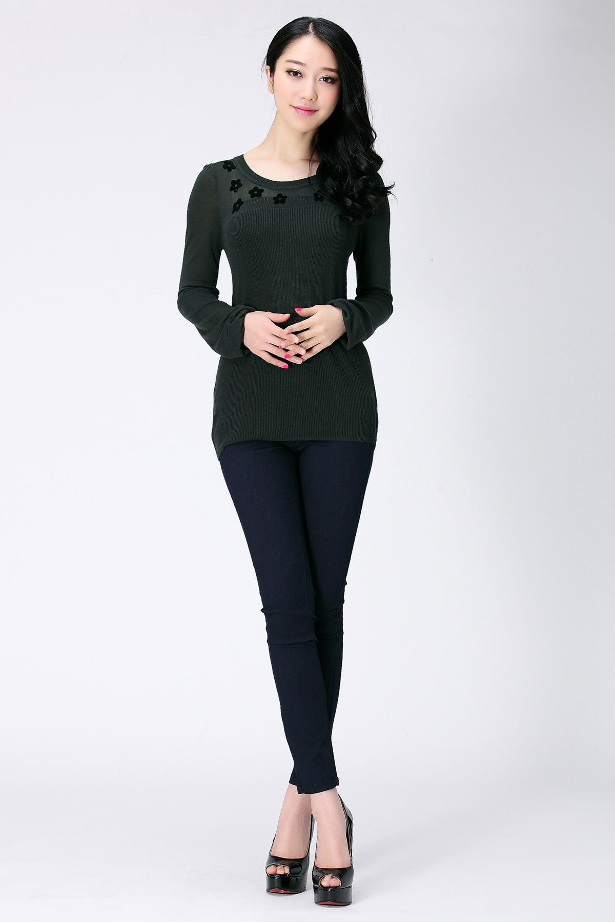 衫-2014春装新品韩版女针织圆领袖子镂空装 显