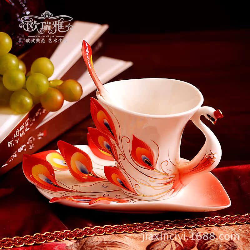 欧瑞雅礼品 创意珐琅 咖啡杯子 套装 欧式 陶瓷英式奶茶杯