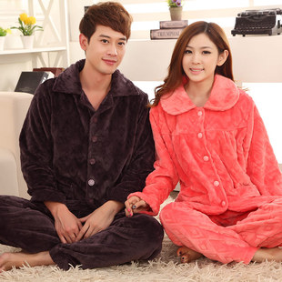 Couples flannel pajamas Season coral fleece upset men take long sleeve winter leisurewear suit at home