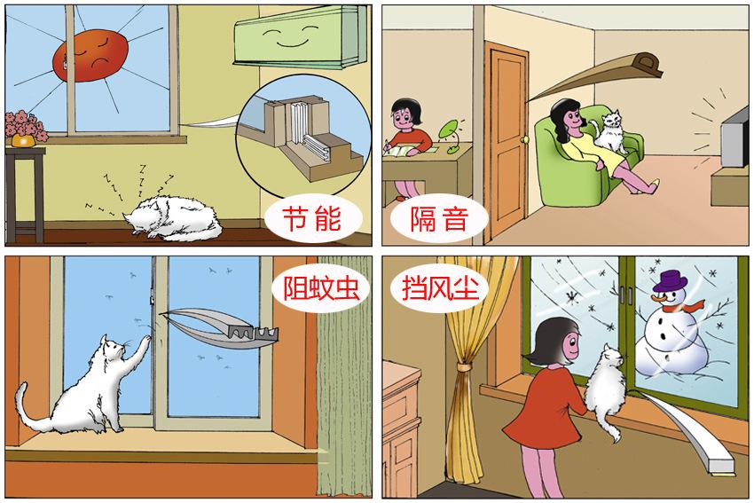密封条效果:节能,隔音,阻蚊虫,防风尘