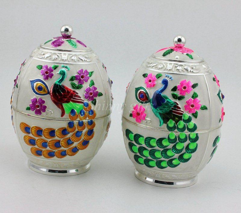 新奇创意拖尾孔雀锌合金密封茶叶罐 蛋形茶叶罐 商务家居礼