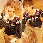 Áo len chui đầu nam dài tay, họa tiết tuần lộc đáng yêu, mẫu Hàn Quốc