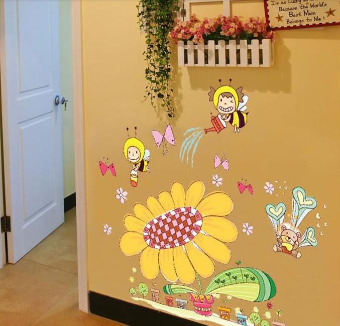 贴 卡通儿童房幼儿园贴画卧室装饰太阳花向日葵蜜蜂墙贴纸批发AY