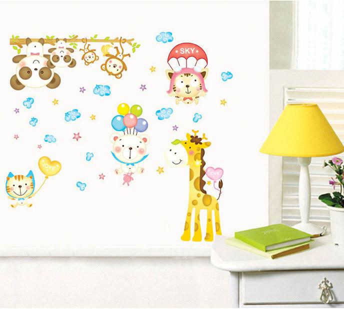 幼儿园教室布置装饰贴画 儿童房卡通动物可移除墙贴纸批发abc1015