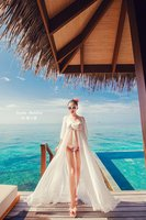 Женское платье new summer sexy strap front cardigan tencel beach chiffon skirt one-piece dress white beach sunscreen skirt