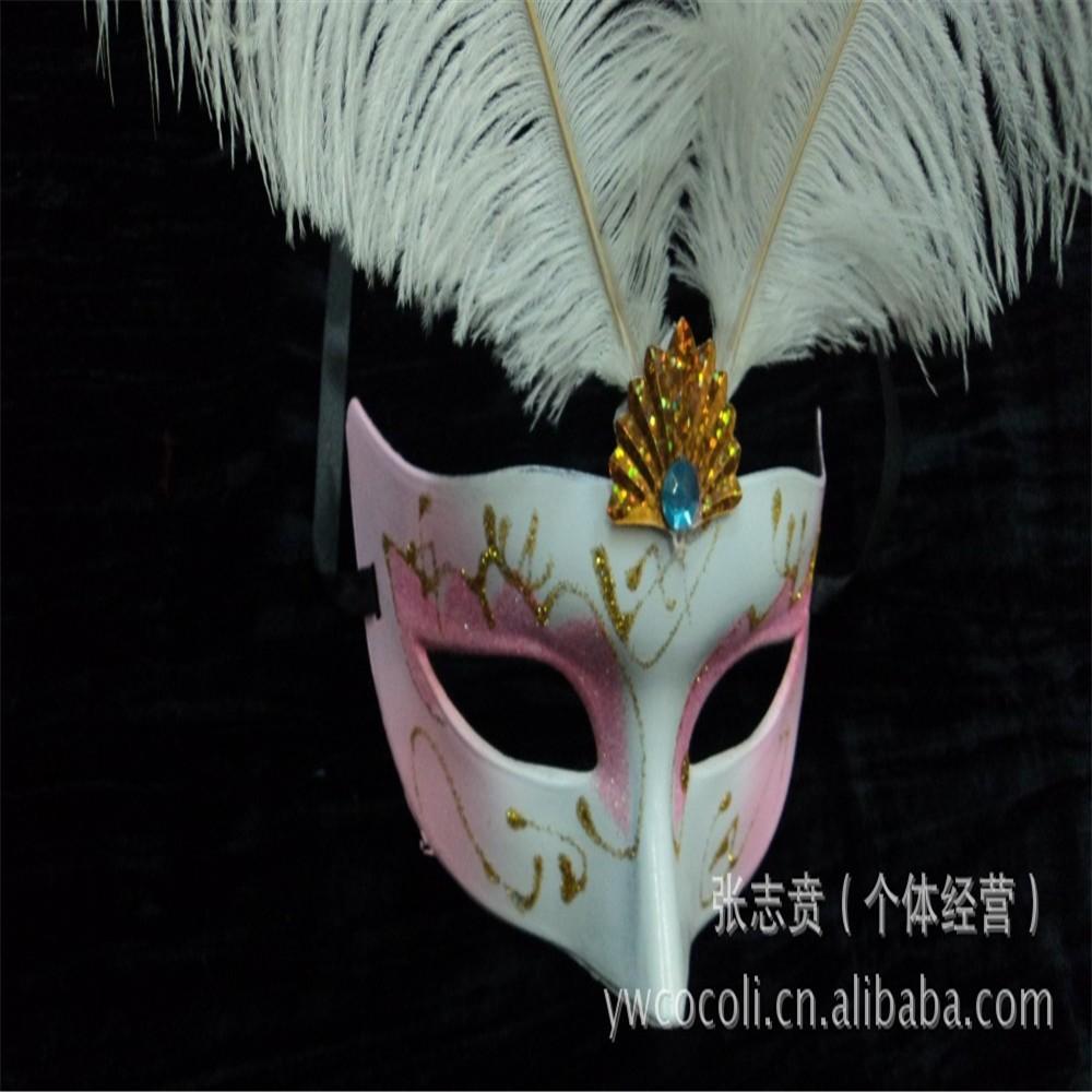 羽毛面具 新款羽毛彩绘面具 化妆舞会面具 万圣节派对批发 厂家直销