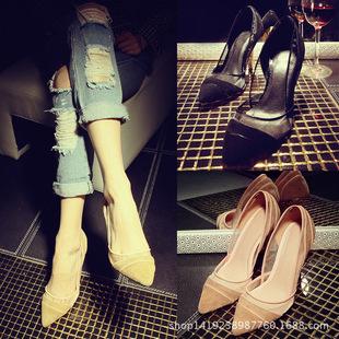 新款欧美性感OL网纱羊皮磨砂尖头浅口单鞋细高跟鞋牛筋底女鞋子