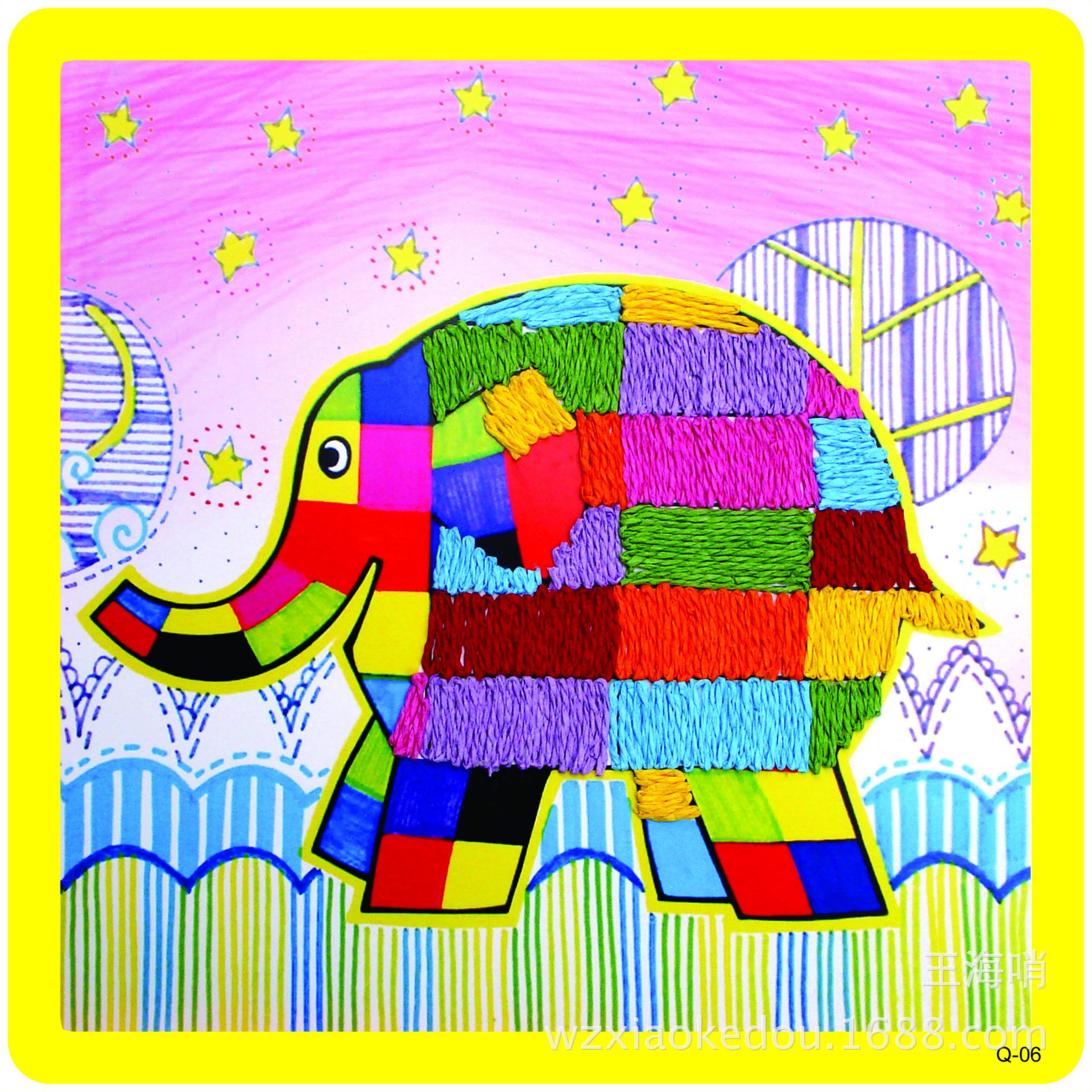 纸绳贴画 新款DIY手工纸绳贴画 幼儿益智手工创意图 环保可爱图案 12