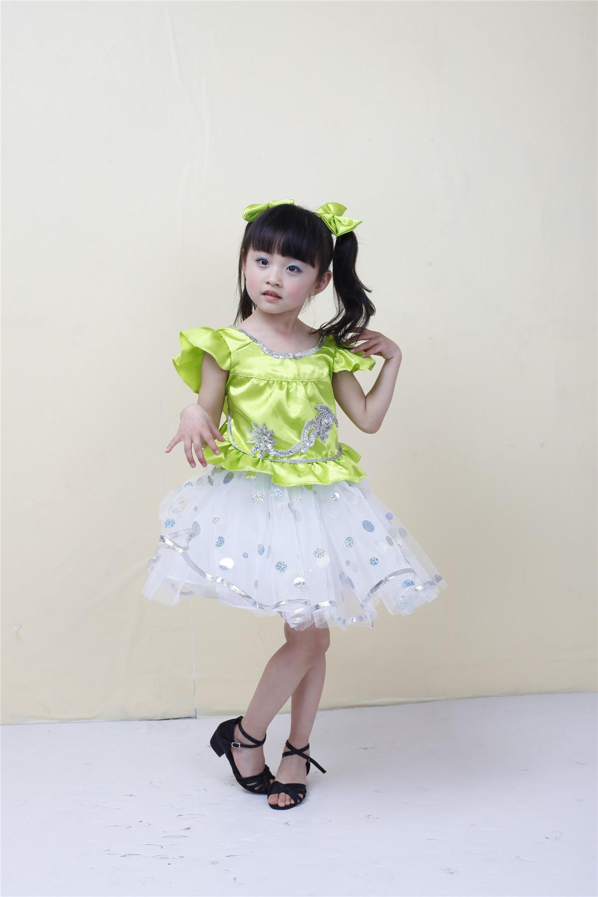儿童舞蹈服 儿童舞蹈服批发可爱女孩跳舞裙子女童舞蹈纱裙幼儿园六一