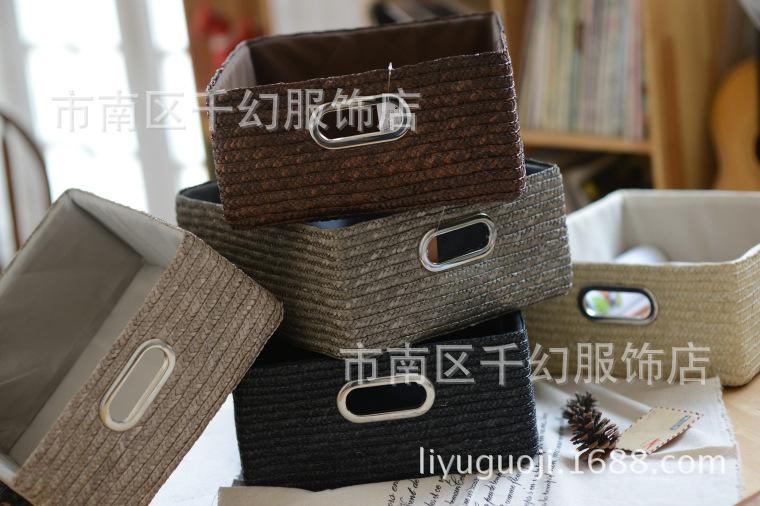 批发创意家居用品 手工草编织收纳蓝 美式桌面杂物收纳盒