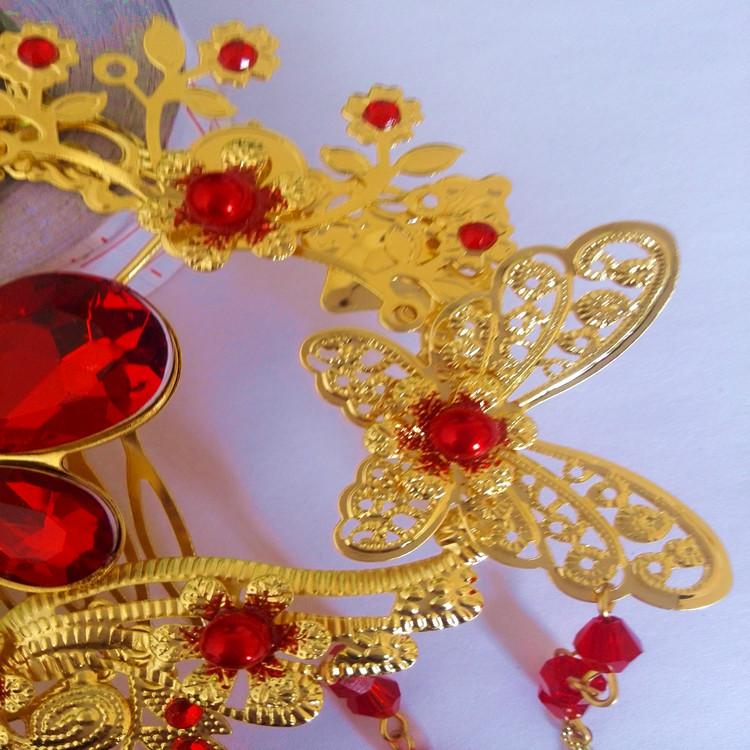 古装新娘头饰 红色合金古装新娘头饰发饰发梳饰品批发 阿里巴巴图片