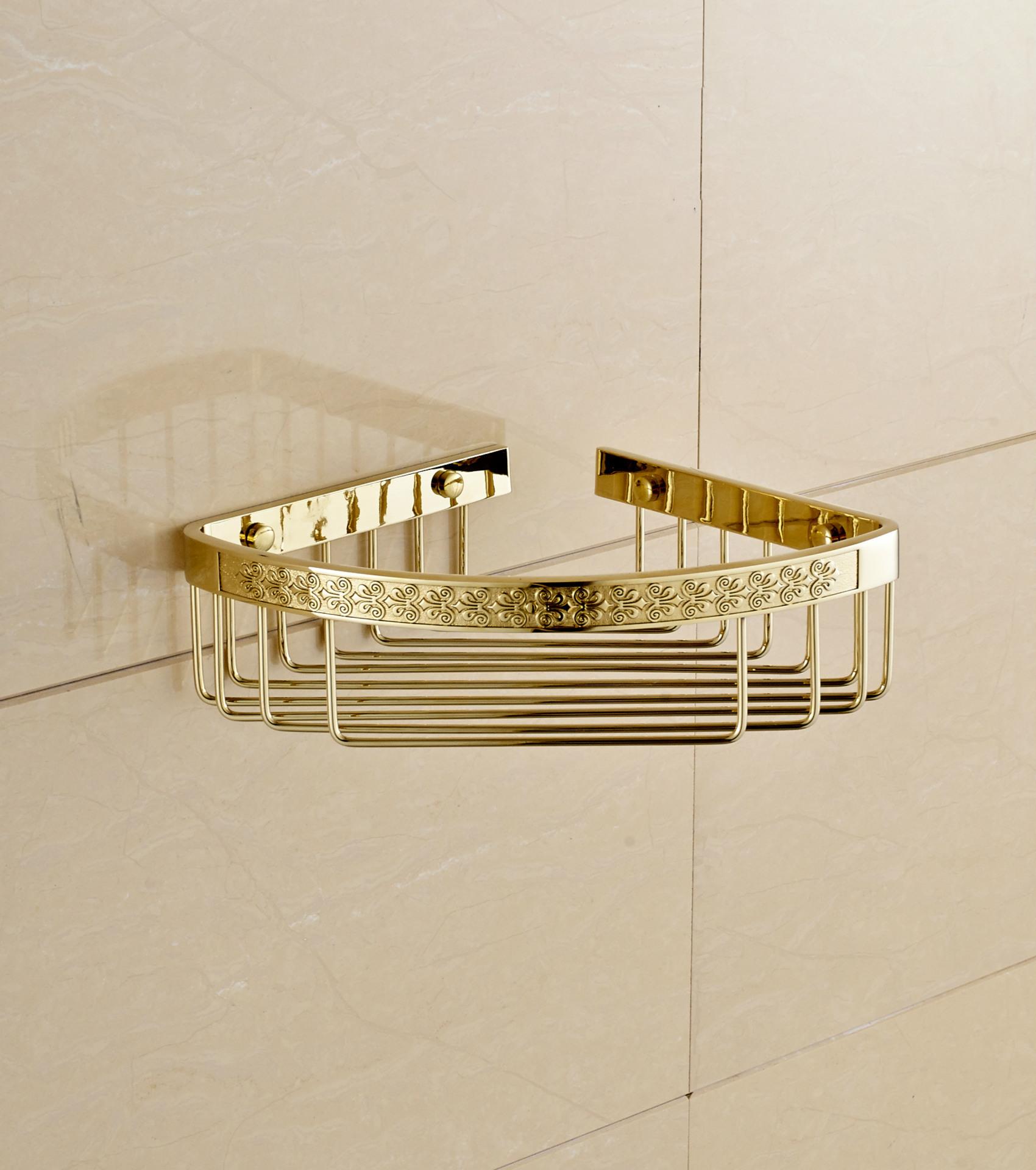艺芝家 纯铜单层三角网篮|雕花三角置物架 卫生间厕所置物