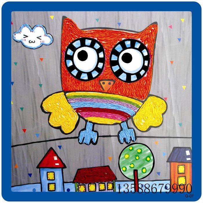 新款DIY手工纸绳贴画 幼儿益智手工材料包 创意DIY制品 12款 阿里巴
