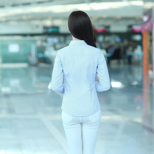夕颜 白衬衫长袖2015春季新款女装韩版职业大码女式衬衫一件代发