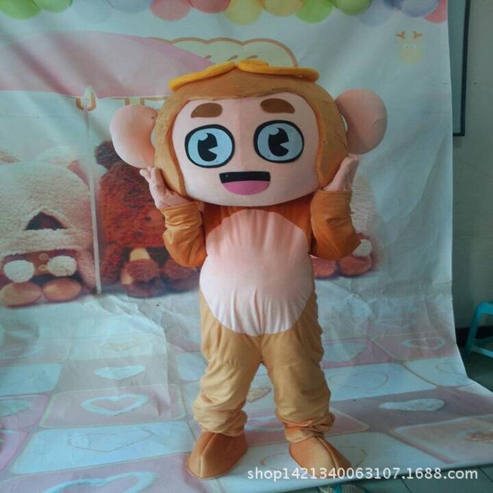猴子卡通大眼睛青蛙卡通人穿玩偶行走卡通